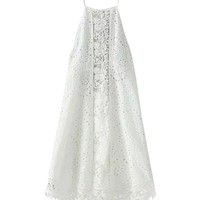 White Embroidered Halterneck Bare Back Eyelet Mini Dress