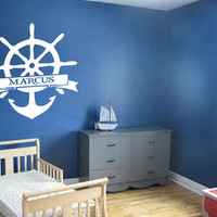 Personalized Wheel and Anchor Decal - Wall Art - Kids Room - Custom Kids Name - Personalized Decal - Gift Idea - Kids Room Decor - Playroom