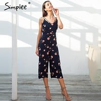 Simplee Sexy strap floral print boho jumpsuit women V neck zipper loose jumpsuit romper 2018 Summer casual beach playsuit