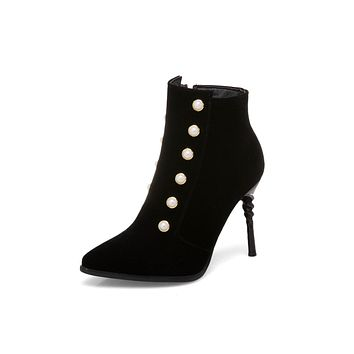 Pointed Toe Pearls Ankle Boots Stiletto Heel Shoes 2294