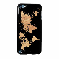 World Map On Wood Texture Print iPod Touch 5th Generation Case