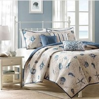 Seashell Beach House Nautical Full / Queen Quilt, Shams & Toss Pillows (6 Piece Bedding)