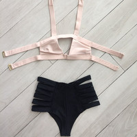 Hollow Crisscross Bikini Set Swimsuit Swimwear