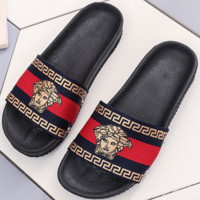 Hermes 2018 summer new style sandals female flat slippers wear casual beach shoes Red/black