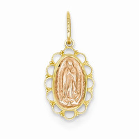 Polished 14k Two Tone Gold Guadalupe Pendant