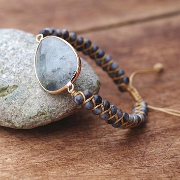 Natural Stones Labradorite Boho Friendship Bracelet Women Man Handmade String Braided Yoga Charm Wrap Bracelet Bangle (size adjustable)