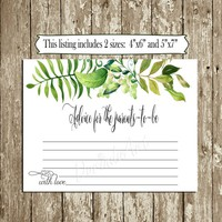 Greenery Baby Shower Advice Cards Printable Wishes for baby card INSTANT DOWNLOAD 4x6 5x7 Green leaves Gender neutral Advice card Game cards