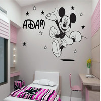 Disney mickey mouse 60cm (H) x 48cm (W) and 55cm (L Name) personalised wall sticker art decal mural vinyl kids room D2