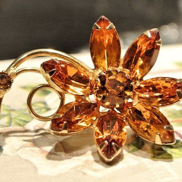 Rhinestone Brooch Flower 1950s 50s Mid Century MidCentury  Amber Topaz Glass Rhinestone Brooch Flowers Floral Bouquet Brooch Jewelry Pin