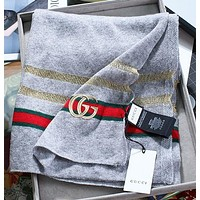 Gucci new metal wire hollow woven shawl classic red and green strip design fashion lady cashmere yarn scarf gray