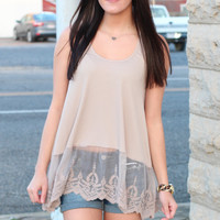 Lace Layering Tank {Taupe}