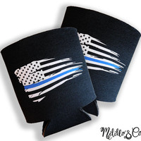 Police Officer Thin Blue Line Tattered American Flag KOOZIE Can Cooler