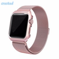 Stainless Steel Loop Strap Link Watch Band For Apple Watch with Case