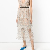 Portrait Cake Long Dress Runway Embroidery Mesh Sequined Stars Vest Lady Sexy V Neck Ruffles Dresses