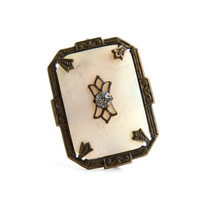 Antique Art Deco Brooch -  Vintage Mother of Pearl and Rhinestone Jewelry Pin / Prong Set Filigree