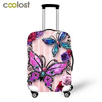 Butterfly Trolley Suitcase Protective Covers koffer Travel Accessories Elastic Luggage Cover for 18 - 30 Inch Baggage Carry on