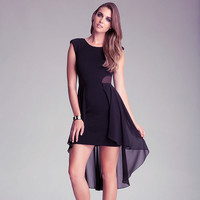 Black Mesh Cutout Side Sleeveless Flounce Chiffon Mini Dress