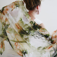 ivory scarf sheer ivory wrap large ivory shawl  long green scarf evening wrap sheer light evening shawl abstract floral sheer scarf  SUMMER
