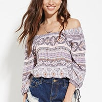 Ornate-Striped Print Top