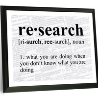 """Research Definition Funny Typography Wall Plaque 9"""" x 12"""""""