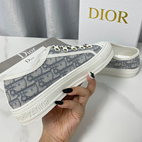 Dior embroidered canvas shoes flat casual shoes 9/18