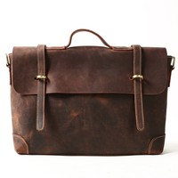 Handmade Vintage Distressed Leather Satchel Messenger Bag
