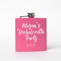 Bachelorette Party Pink Flask - Personalized bachelorette party favors Custom gifts supplies