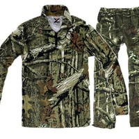 Breathable cotton camouflage Men's  long-sleeved T-shirt pants for summer hunting fishing