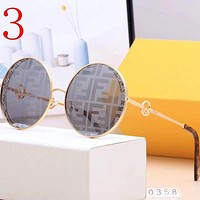 Fendi FF personality round frame glasses fashion driving polarized glasses men and women beach glasses