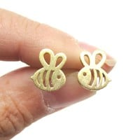Adorable Bumble Bee Insect Shaped Stud Earrings in Gold | Animal Jewelry