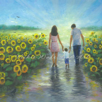 Sunflower Walk With Mom and Dad Art Print, sunflower paintings loving couple and boy wall art, Vickie Wade Art