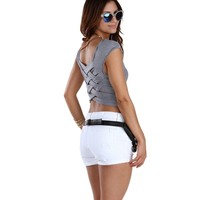 Promo- White Braided Back Crop Top