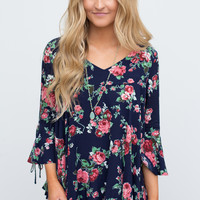 Floral Print Bell Sleeve Blouse - Navy