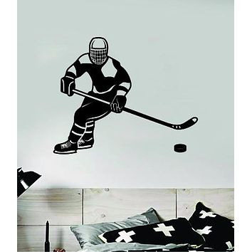 Hockey Player V9 Wall Decal Sticker Vinyl Art Bedroom Room Home Decor Quote Kids Teen Baby Boy Girl Ice Skate Puck Stick NHL Winter Sports