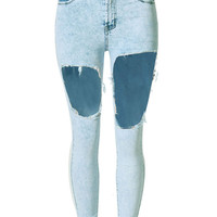 Light Blue Ripped Cut Out Snow Wash Skinny Jeans