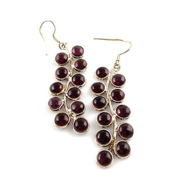 Garnet Sterling Silver Vine Earrings