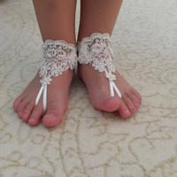 flower girl, For 3 year old girl BAREFOOT SANDAL, Beaded ivory lace wedding sandals, free shipping!
