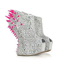 Giuseppe Zanotti Designer Shoes Neon Resin Spike and Crystal Suede Wedge