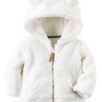Hooded Sherpa Zip-Front Jacket