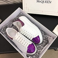 Alexander McQueen classic quicksand ladies white shoes fashion personality sneakers