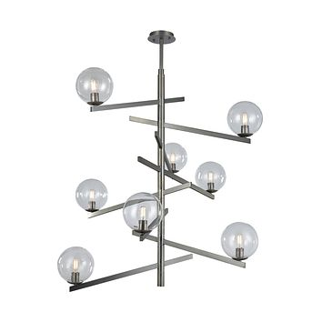 Globes of Light 8-Light Chandelier in Brushed Black Nickel with Clear Blown Glass