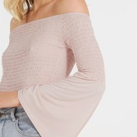 sheena shirred long sleeve off the shoulder top