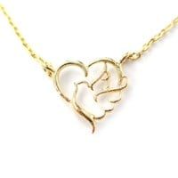 Love and Hope Heart Shaped Dove Outline Charm Necklace in Gold | DOTOLY