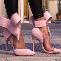 Women's Big Bow Tie Pumps, Sexy Pointed Toe Stiletto
