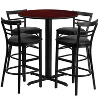 24'' Round Mahogany Laminate Table Set with Ladder Back Metal Bar Stool and Black Vinyl Seat, Seats 4