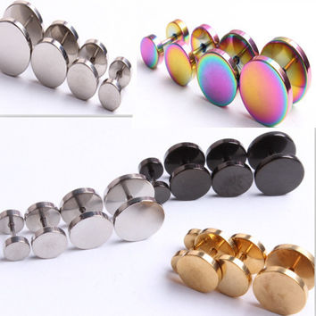 6-12mm Men Women Girl Cool Barbell Punk Gothic Stainless Steel Ear Studs Earrings Fashion  5 color Choose 1pcs