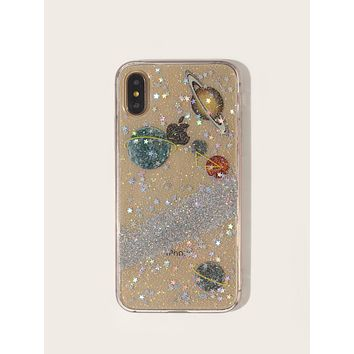 Glitter Planet Pattern iPhone Case