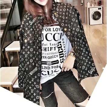 """""""Louis Vuitton""""Lover Unisex Fashion All-match Edgy Cool Geometric Pattern Letter Print Long Sleeve Loose Cowboy Coat"""