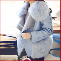 winter Korean star jackets with a fake fox fur coat pu leather stitching fur coat for Motorcycle girl