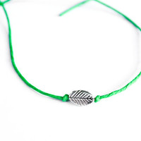 Leaf Wish Bracelet Hemp Friendship Dainty